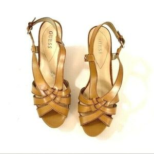Guess 10M WGKAYCE Tan Cork Wedge Sandals Leather